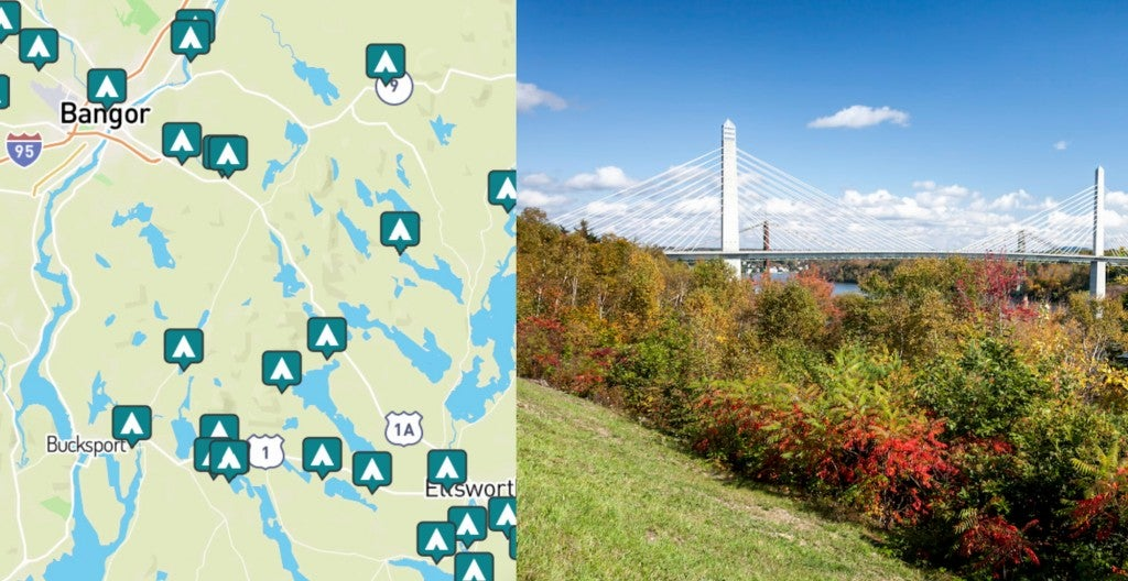 side-by-side images of camping near bangor maine and a view of a bridge in bangor maine