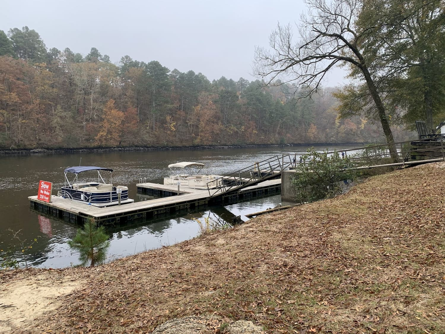boats at dock on river during fall