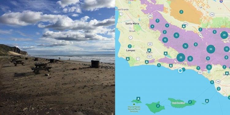 Image of Santa Barbara beach camping and map of campgrounds near Santa Barbara.