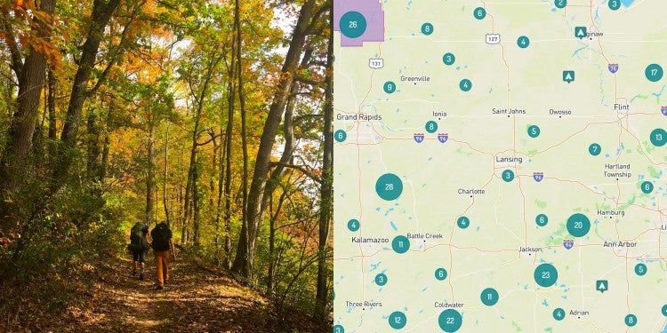 Image of two backpackers walking in the woods near Lansing Michigan. Right Image of map of camping near Lansing Michigan.