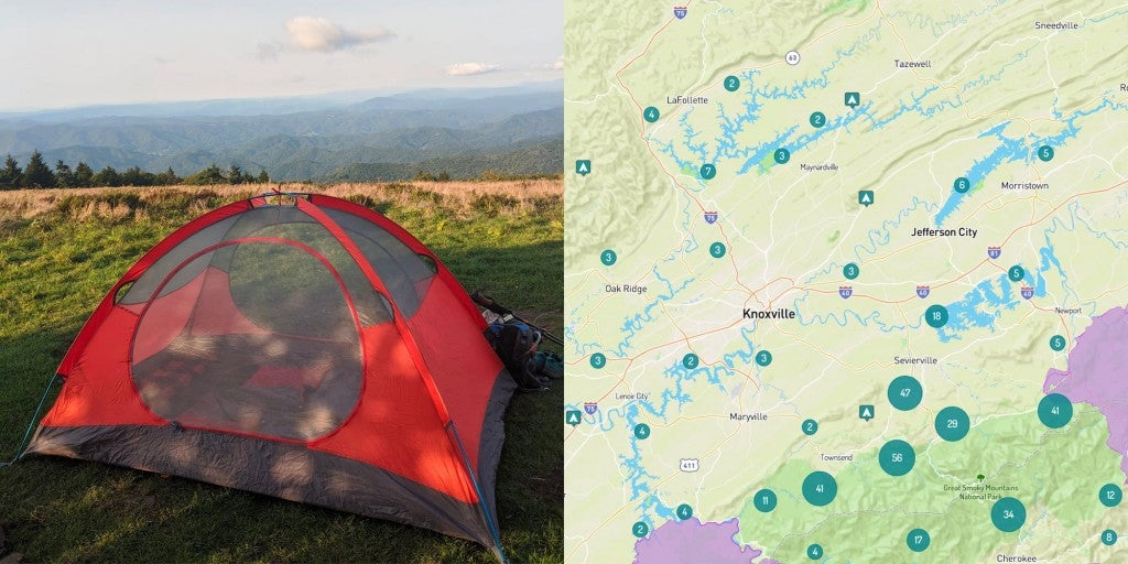 Orange tent in the mountains of Northeastern Tennessee beside an image of map of camping near Knoxville, Tennessee.