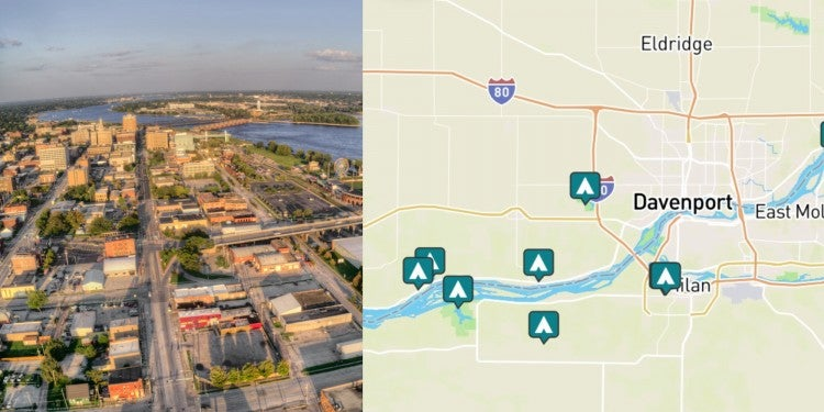 side by side images of davenport Iowa, and a map of camping near davenport, iowa