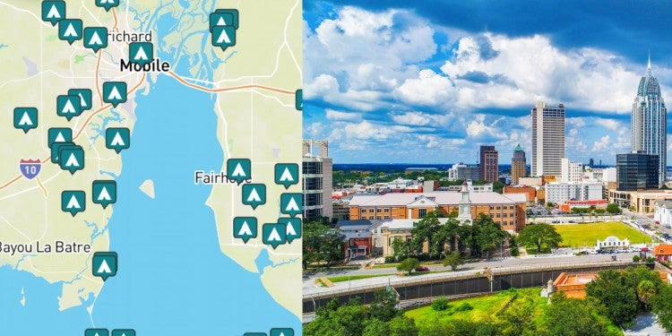 side by side images of downtown mobile and a map of campgrounds around mobile