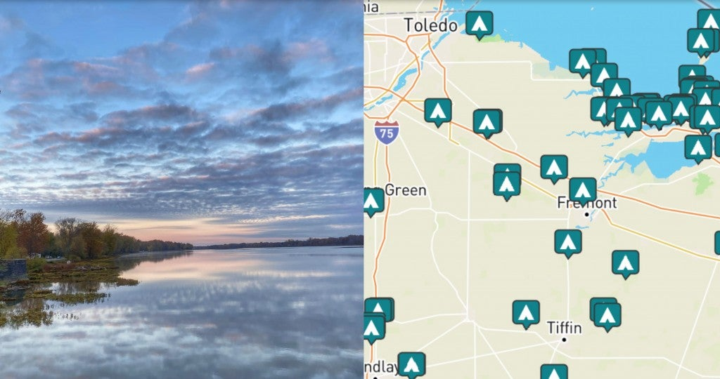 side by side images of sunset over the water and a map of camping near toledo Ohio