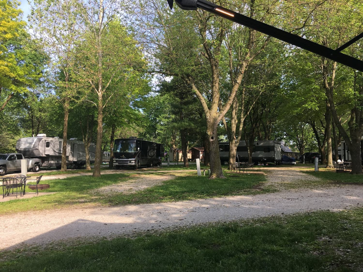 row of RVs parked in wooded campground