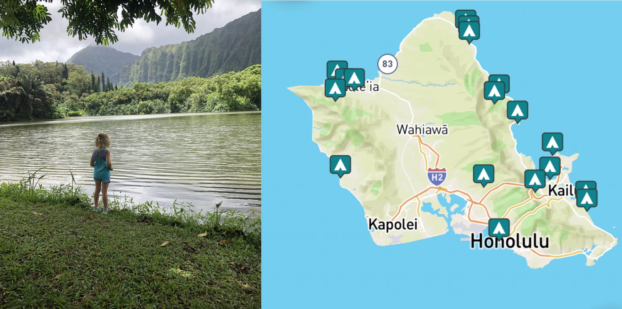 side-by-side images of camper near water and a map of campgrounds near Honolulu