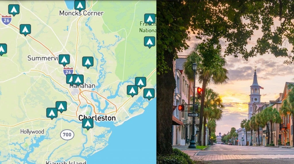 side by side images of camping near charleston and a picture of downtown charleston