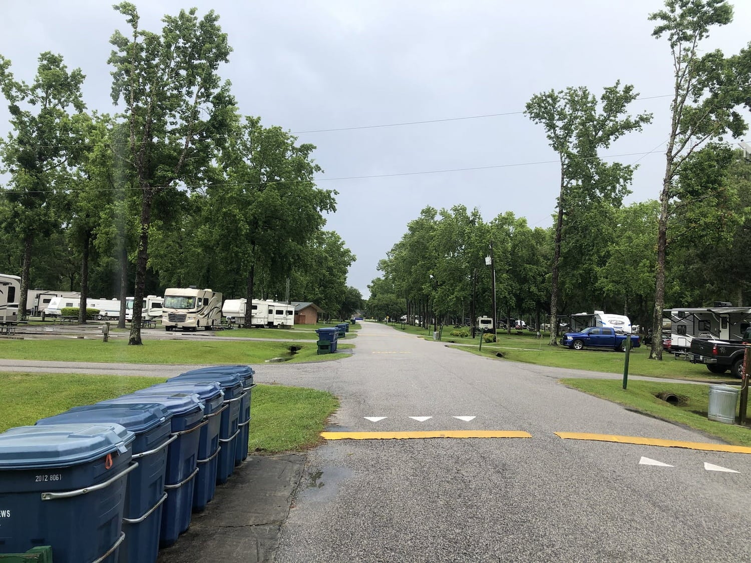 overview of campground with many rvs