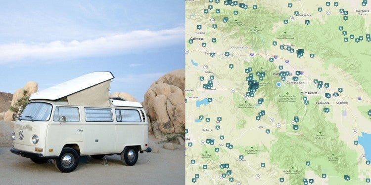 Van parked in joshua tree near palm springs, map of camping near and around Palm Springs, California.