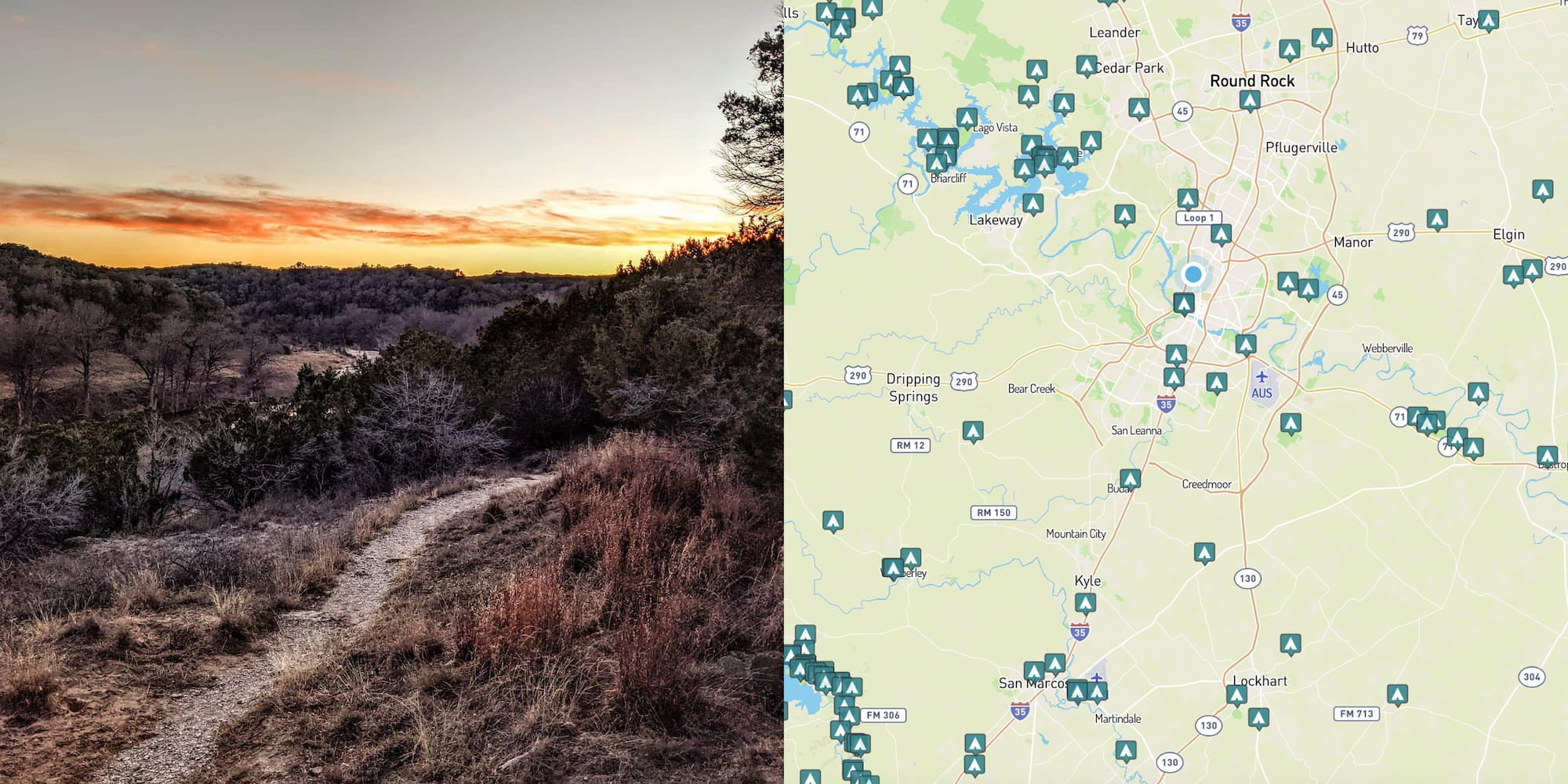 Image fromcampsite near texas and map of campgrounds around Austin, Texas.