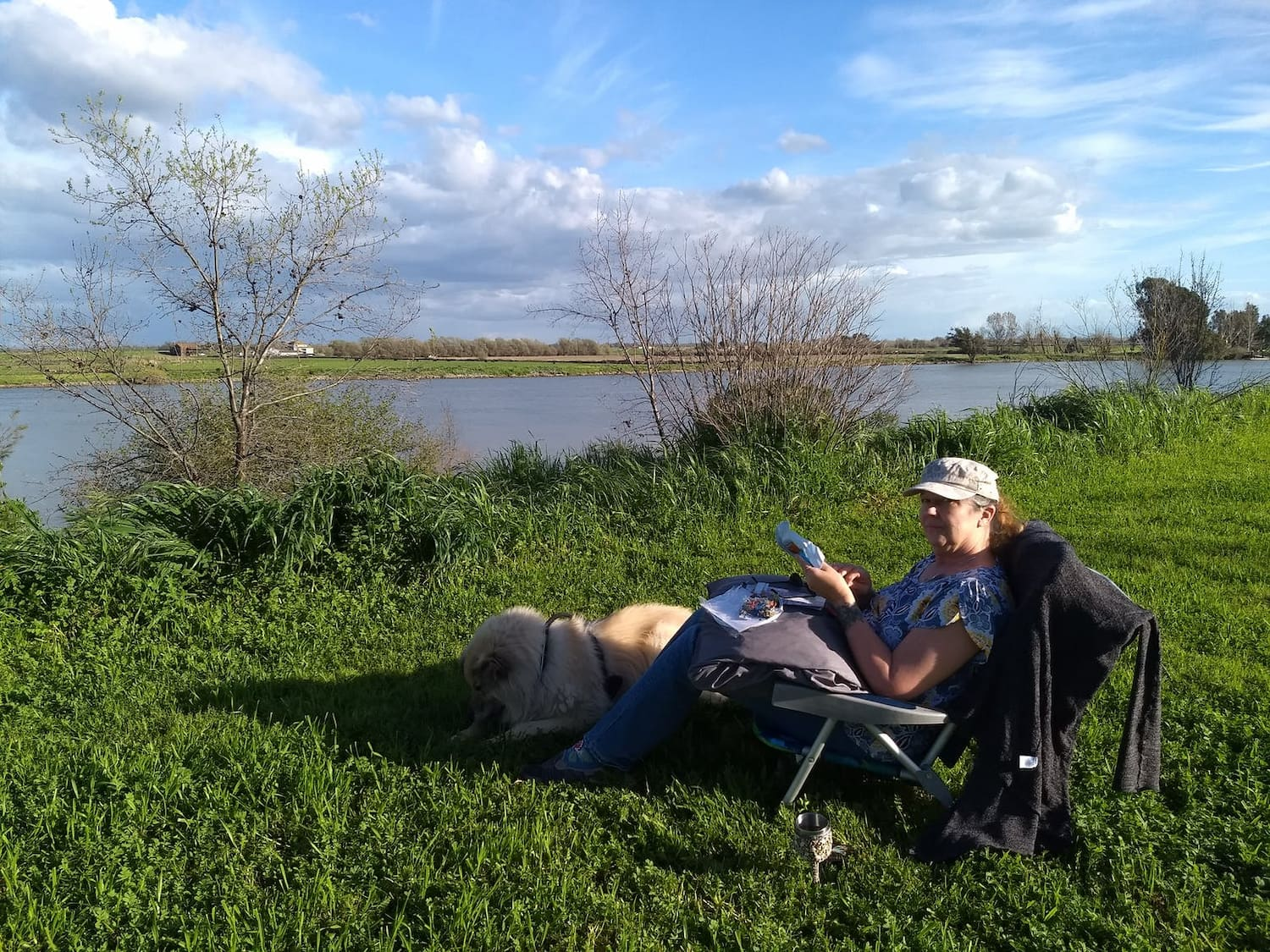 woman sitting on camp chair in grassy field