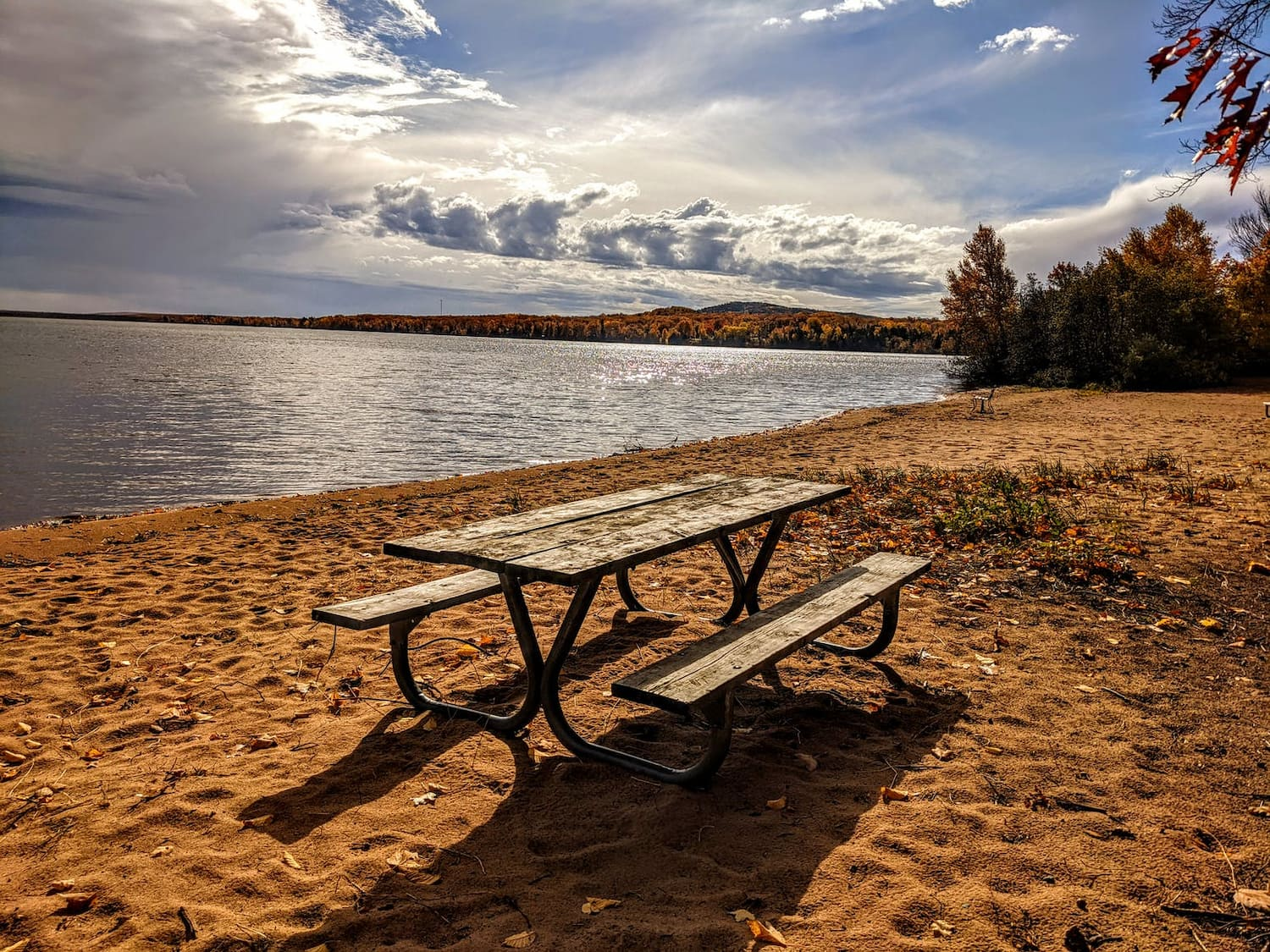Picnic bench on the beach
