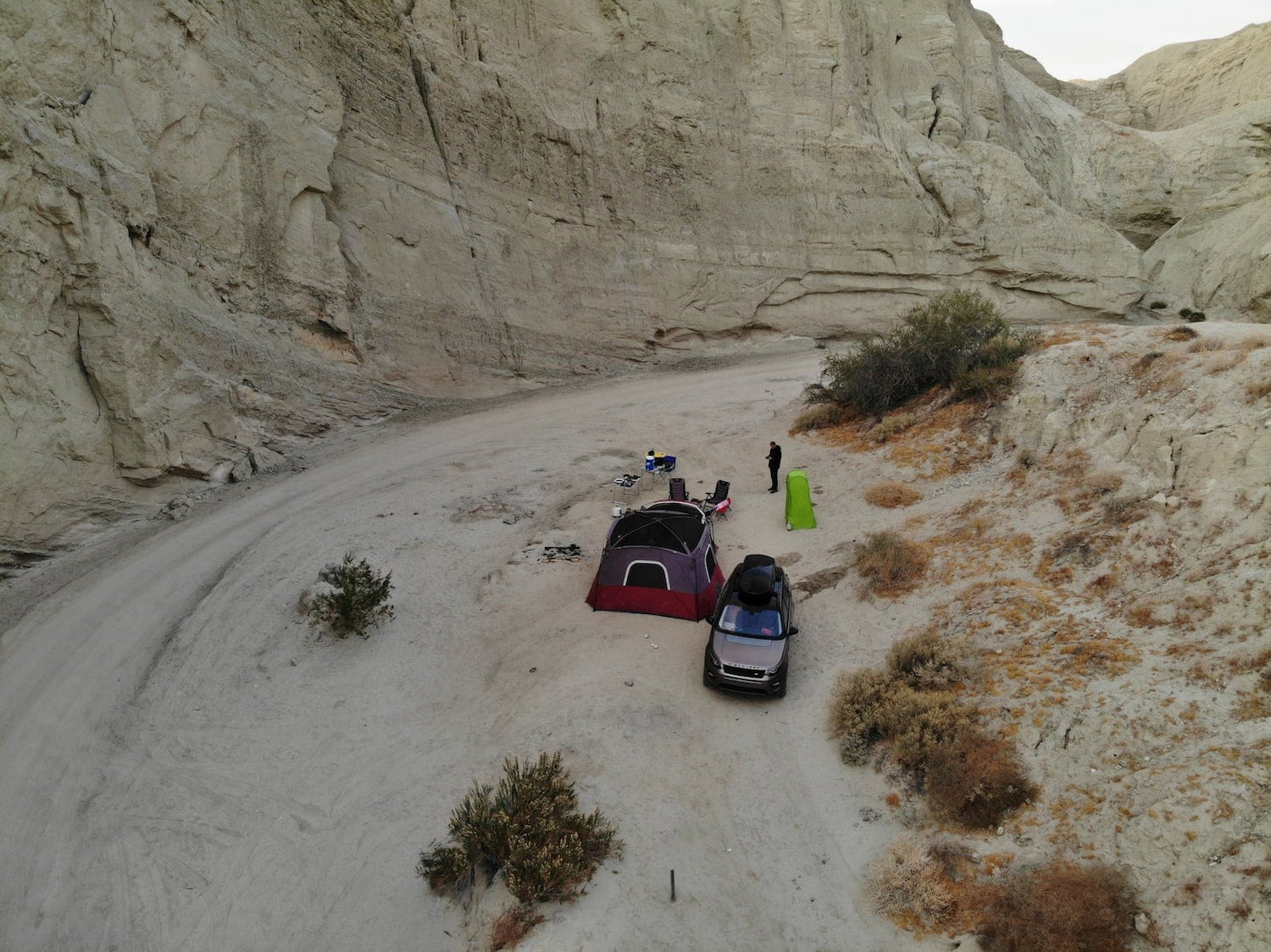drone shot of tent set up at campsite