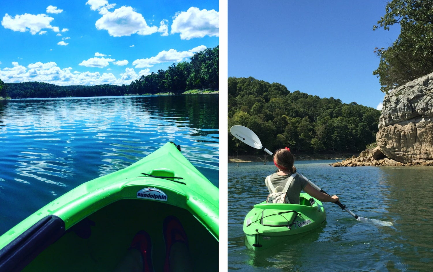 side by side images of kayaks on the water
