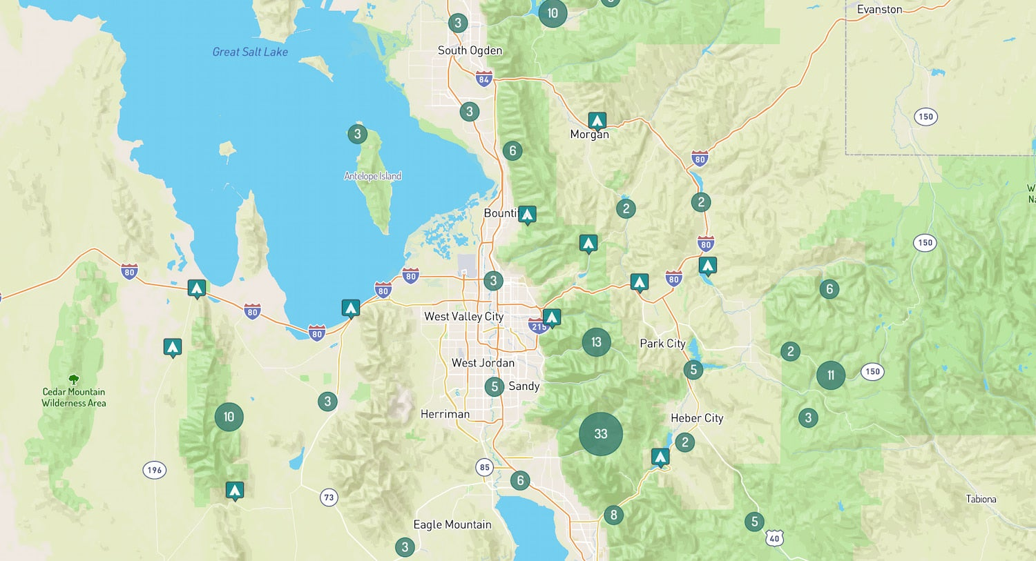 map of campgrounds near Salt Lake City