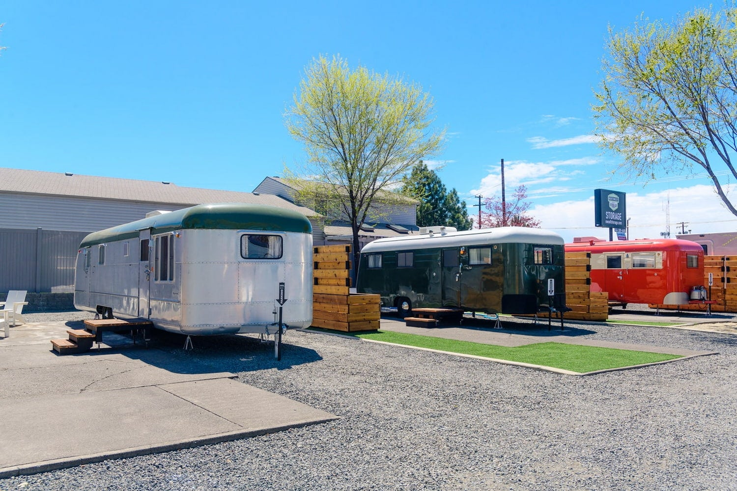 three pull behind trailers at rv park