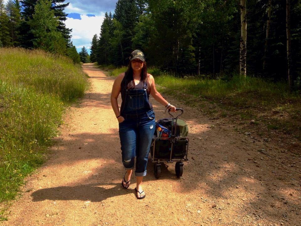 camper hayley k with a wagon full of gear