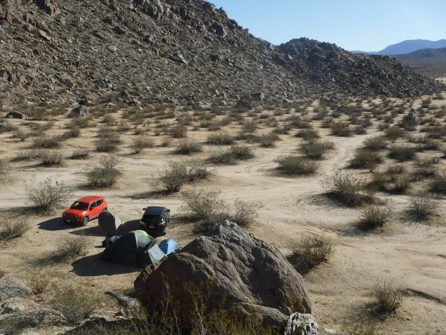 cars camped on the desert floor