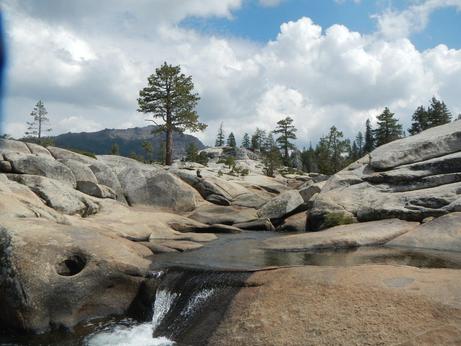 waterfall off granite rocks
