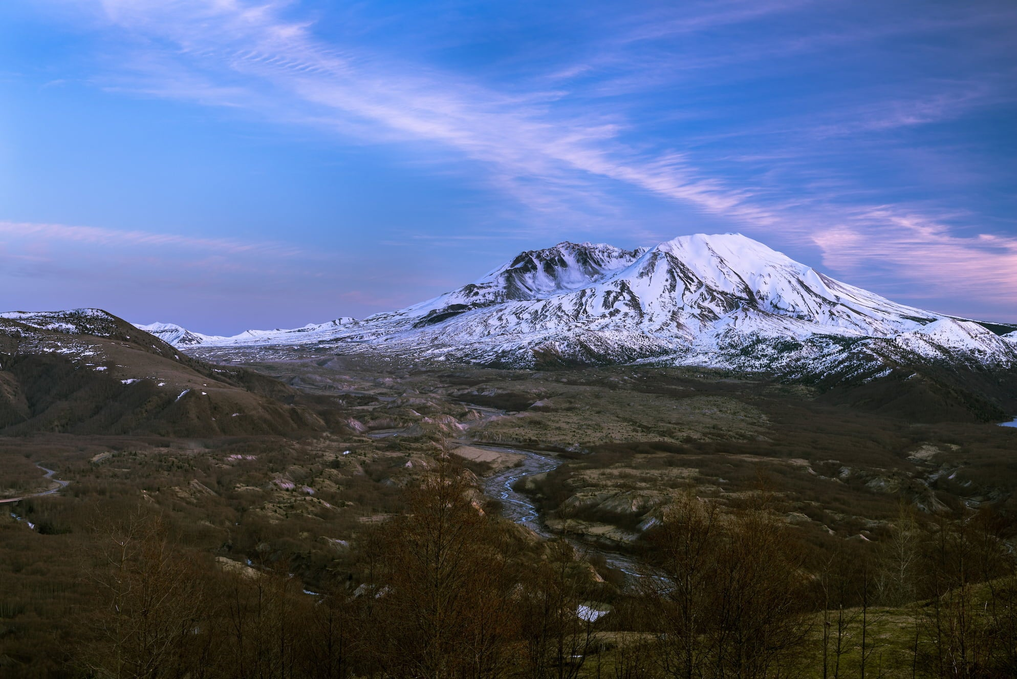 Mt St. Helens at dusk.