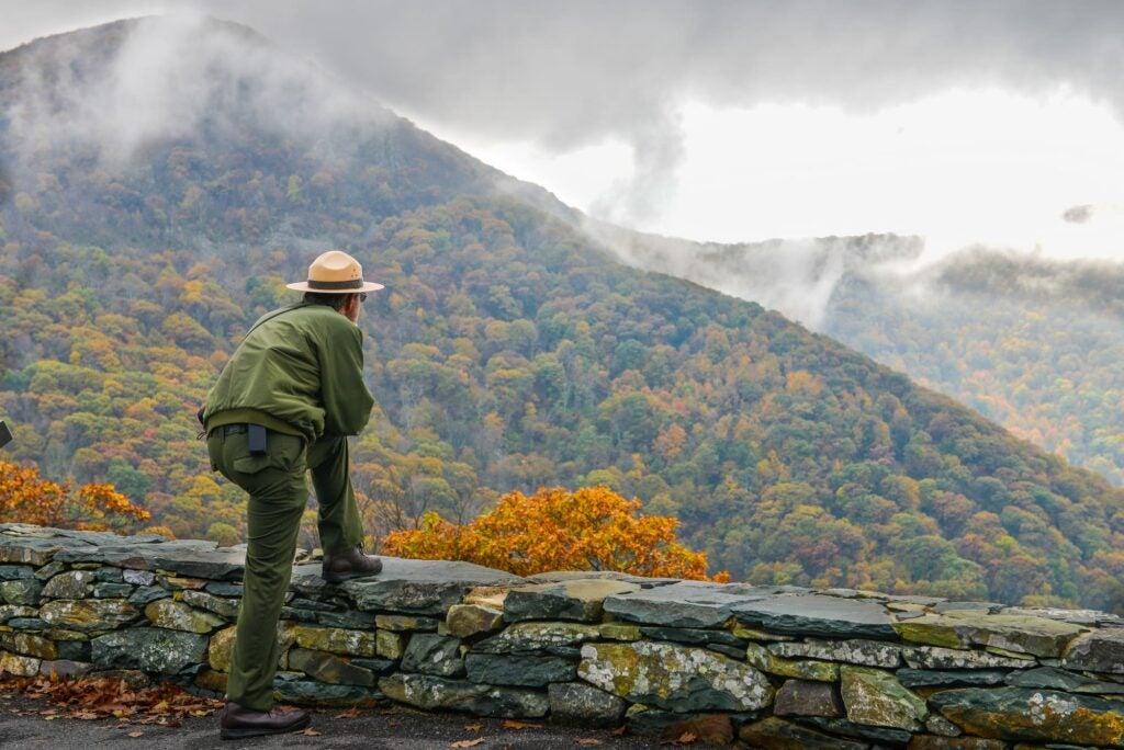 Ranger overlooking Shenandoah National Park