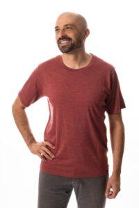 man wearing alpine tshirt