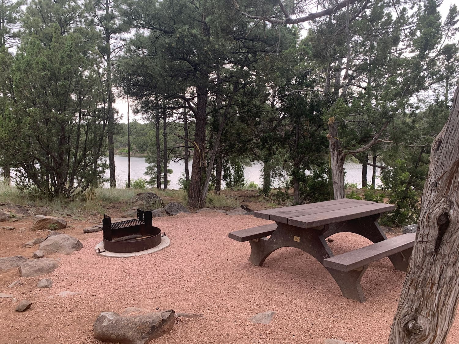 picnic bench and fire pit at campground