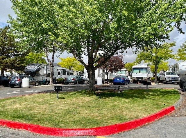 Forested, paved RV park.