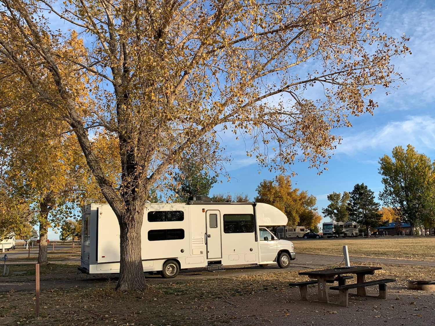 RV aprked at campsite in the fall beside a tree and picnic table.