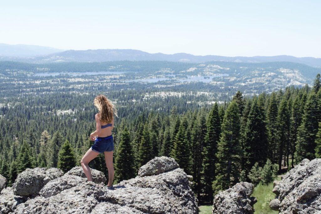 woman overlooking vista