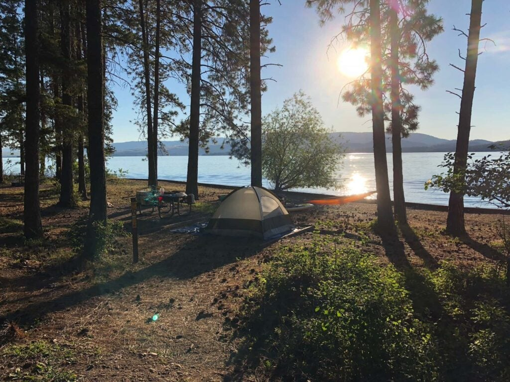 tent and hammock set up at campsite