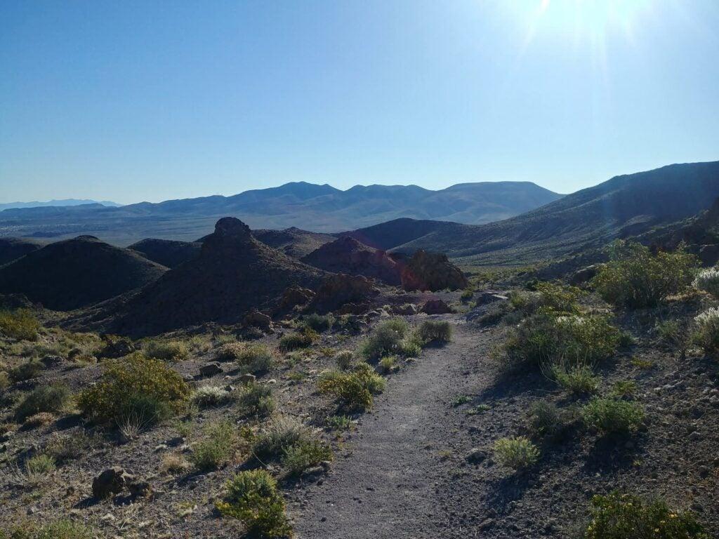 hiking trail through desert