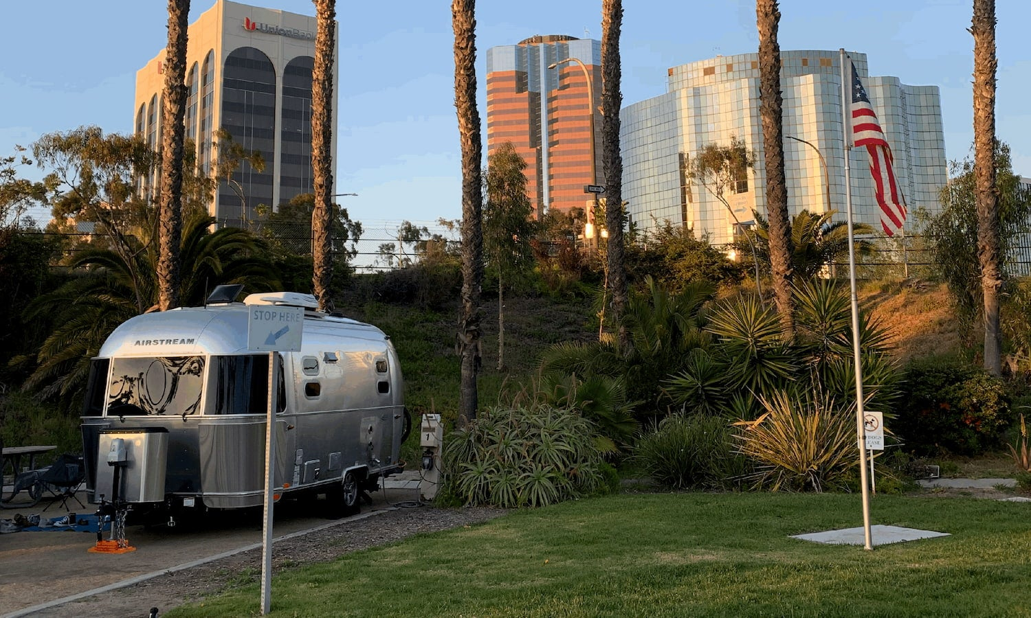 airstream parked at rv park infront of buildings