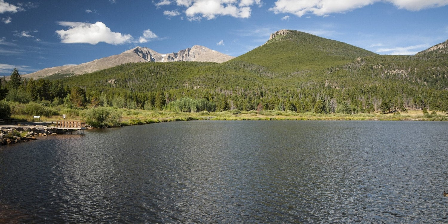 lake and hills behind it