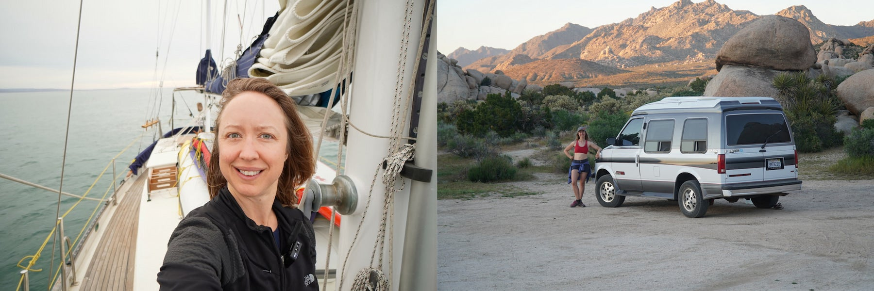 Kristin Hanes of The Wayward Home on her sailboat and beside her van.