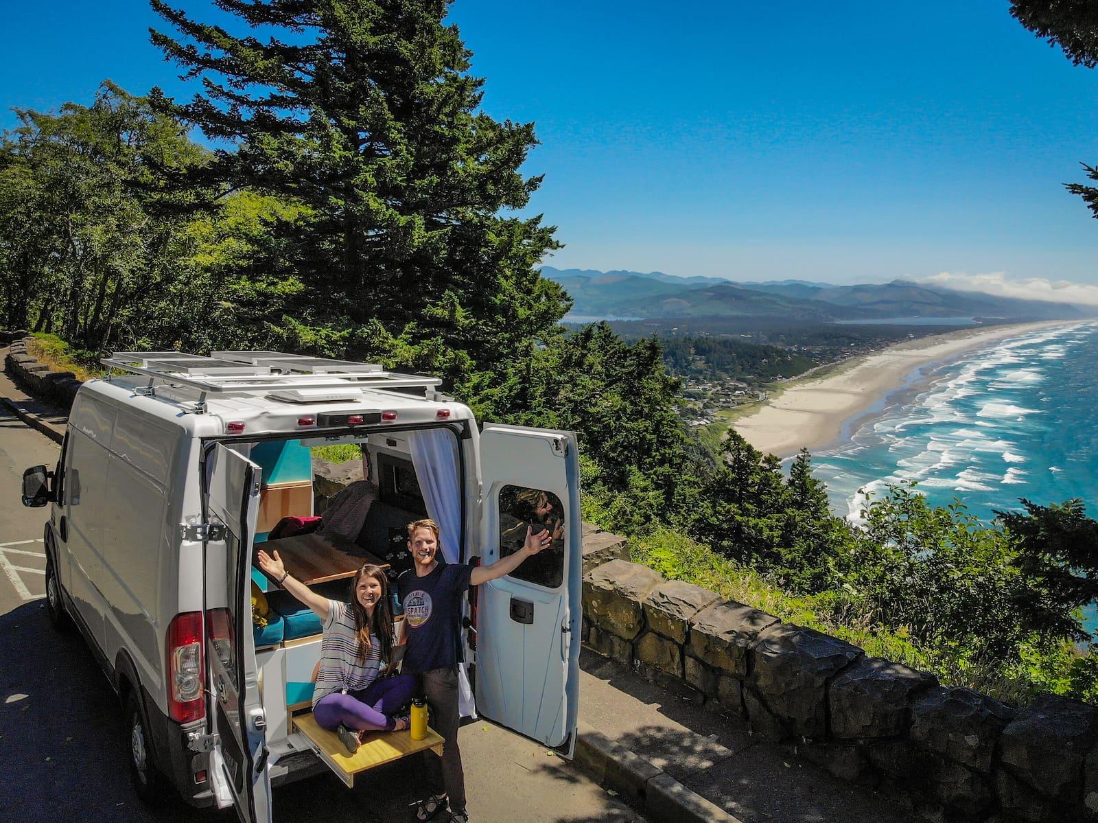 Two Wandering Soles in their van on the coast California.