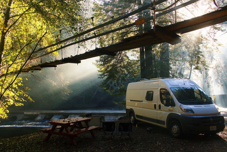 van under a bridge