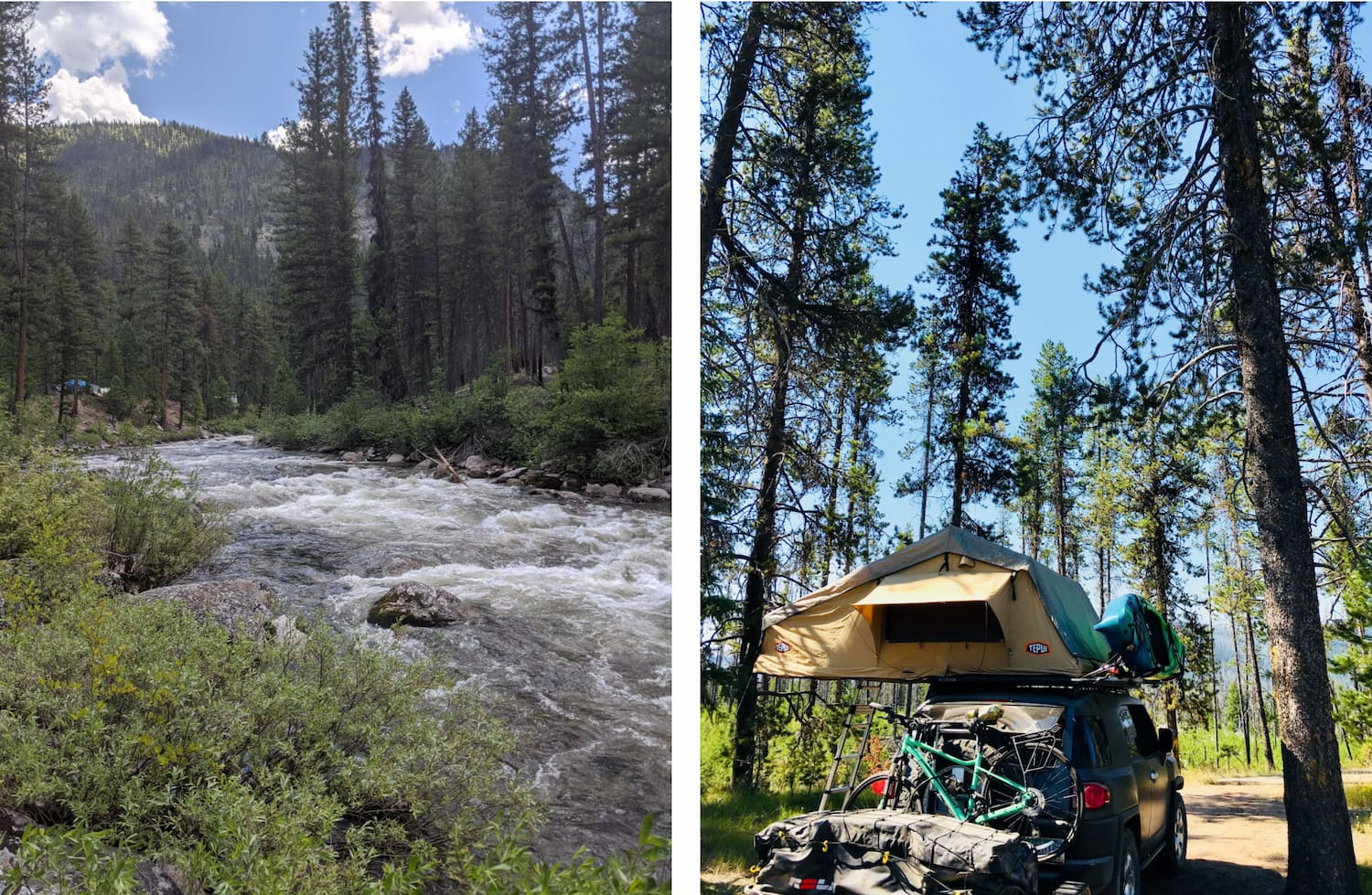 side by side images of river and rooftop tent