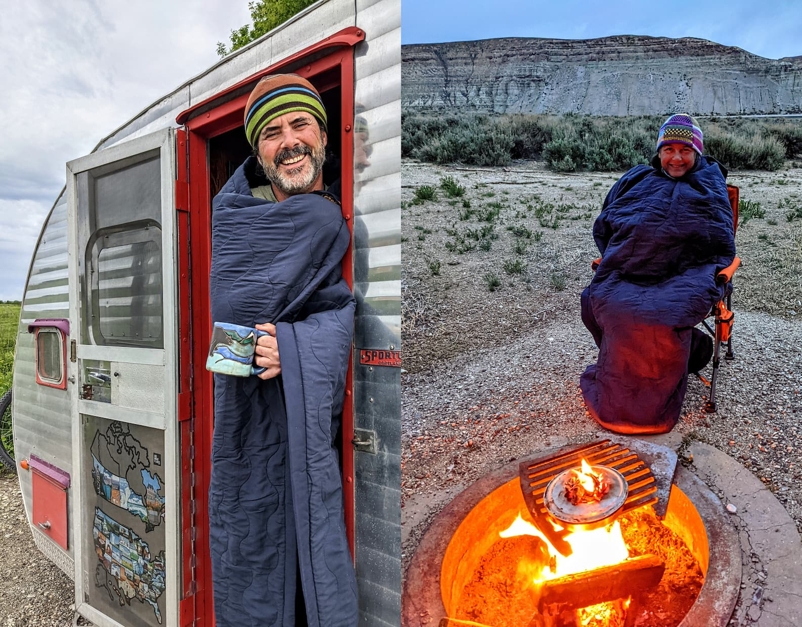 Shari and Hutch full time Rvers cozied up in their heated blankets in their Rv and beside the fire.