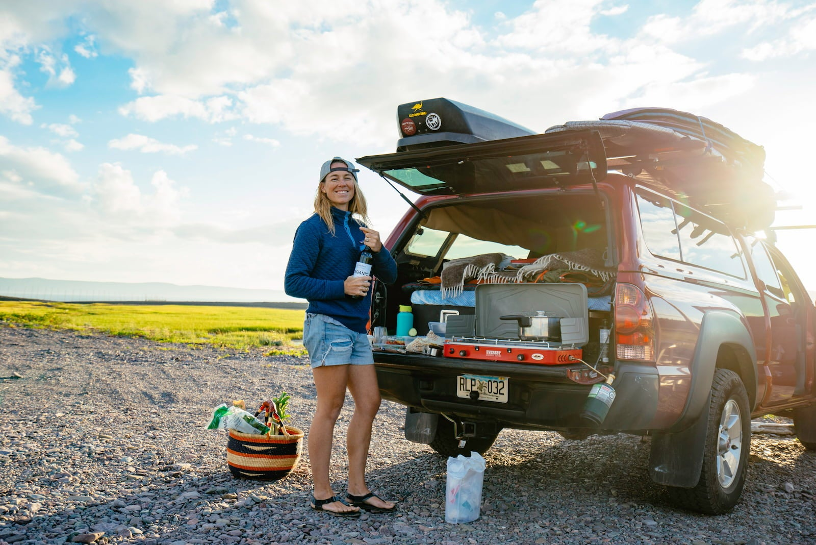 Mak of Bound for nowhere outside of their built out toyota tacoma camper.
