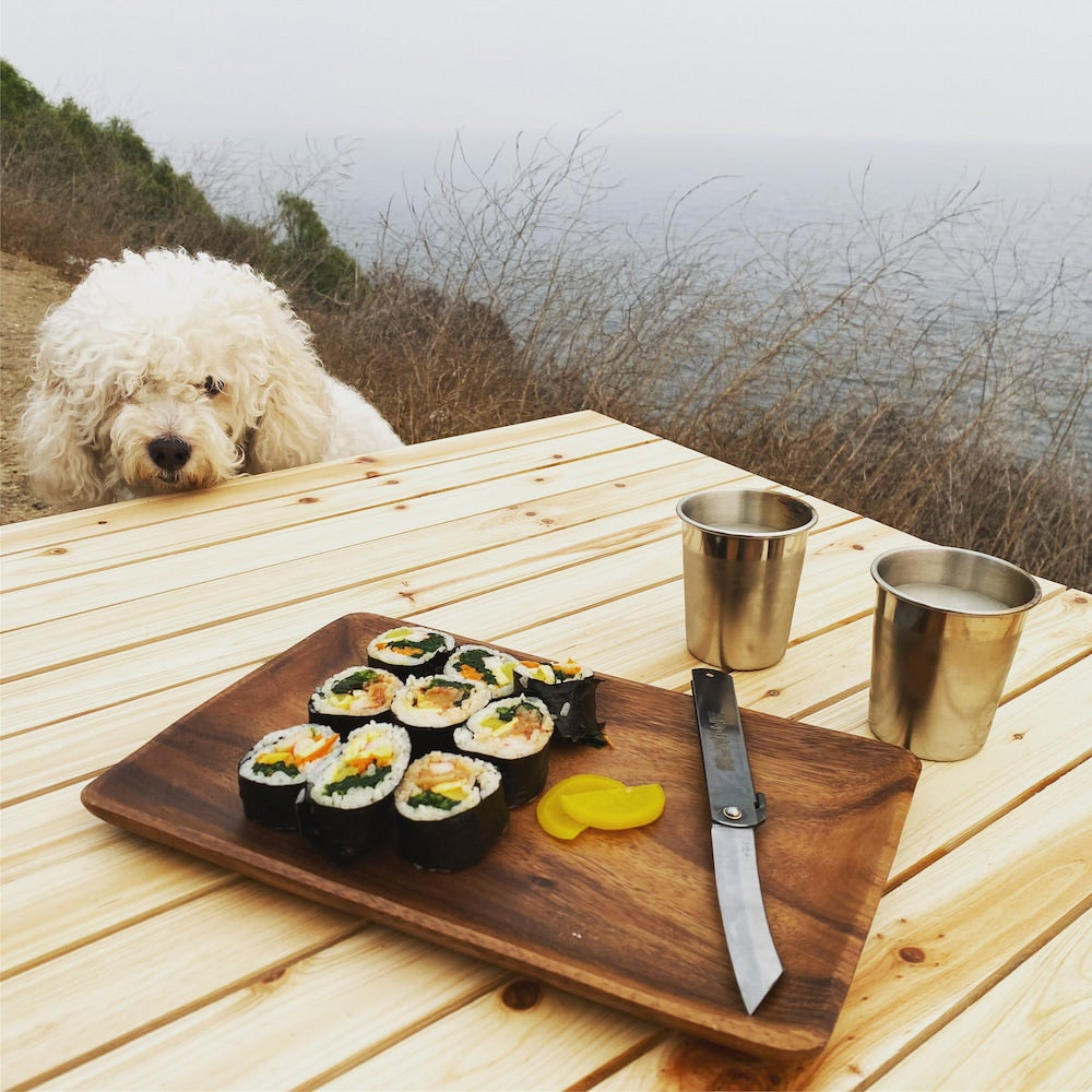 poodle looking at sushi on a table