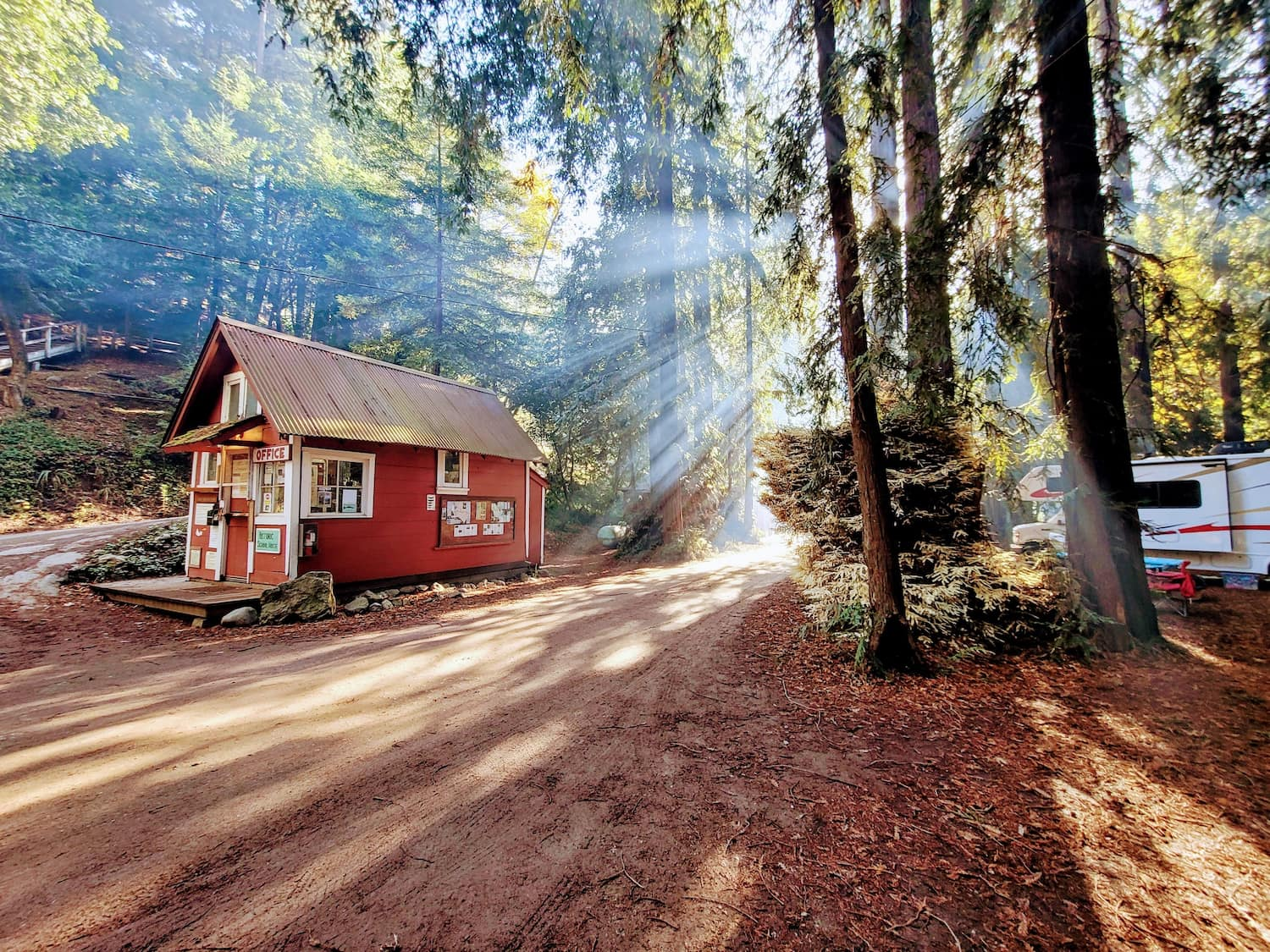 campground office in dramatic sunlight
