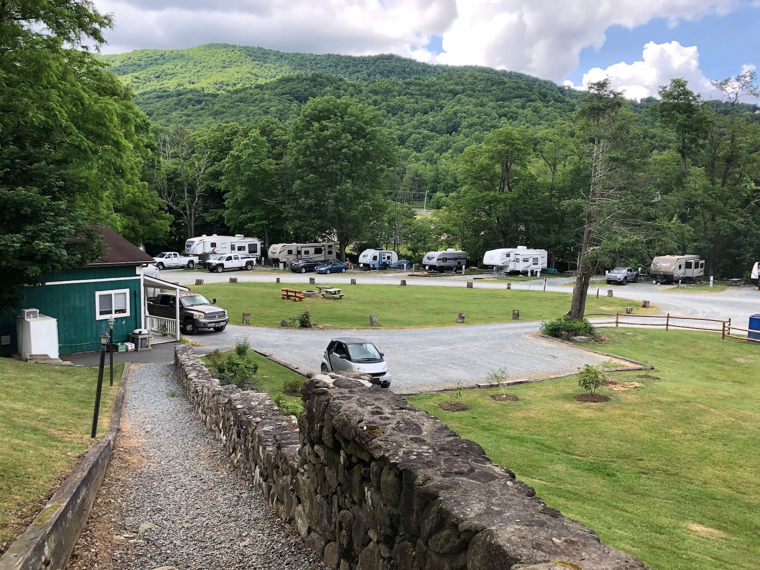 RVs lined up at campground