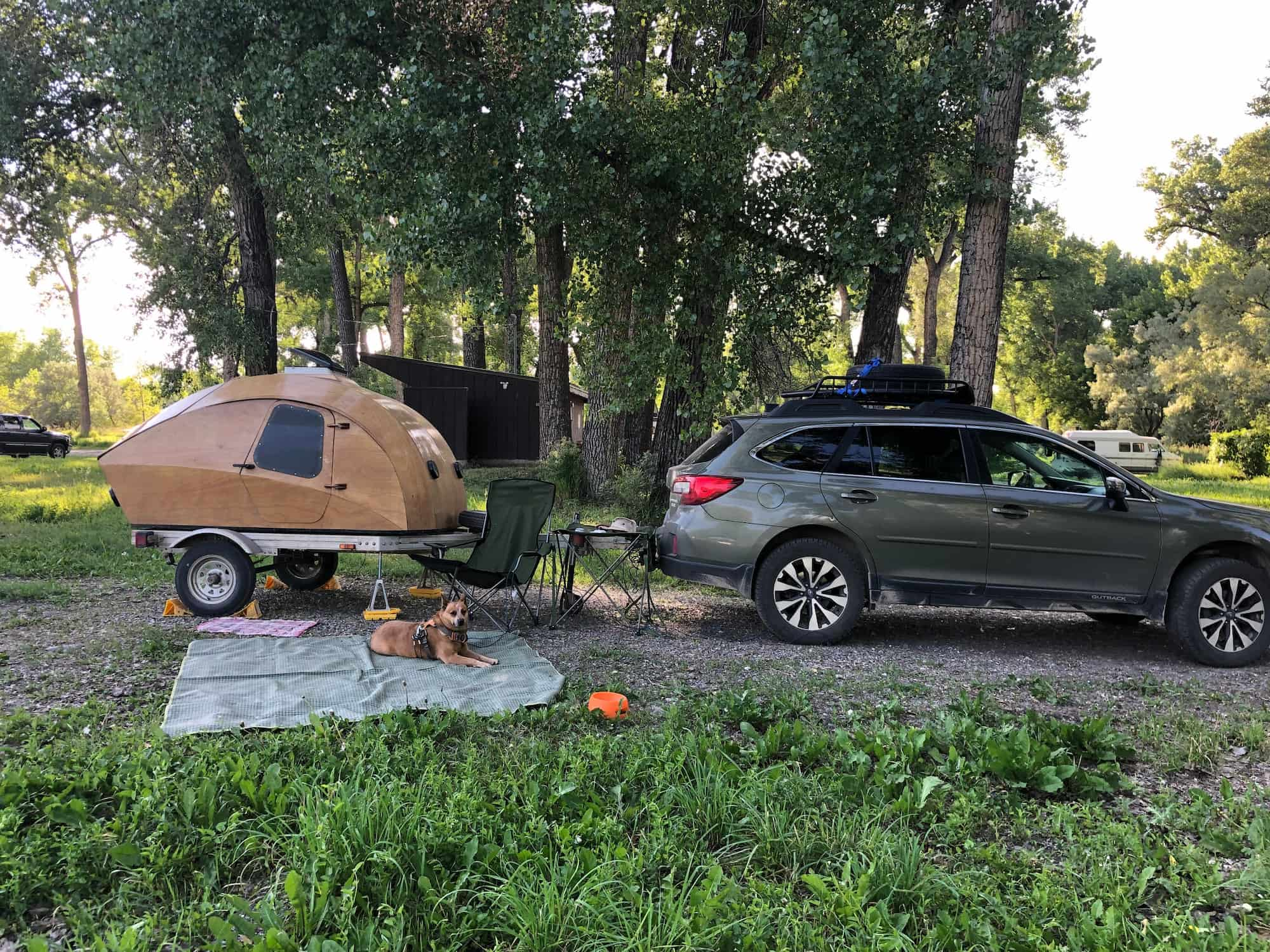 Subaru outback with wooden teardrop and blanket laid out with dog hanging out on it.