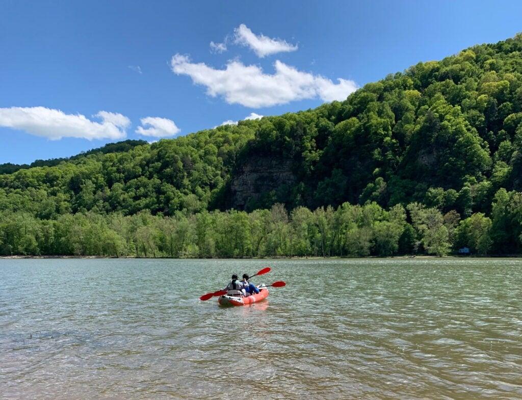 kayak on water