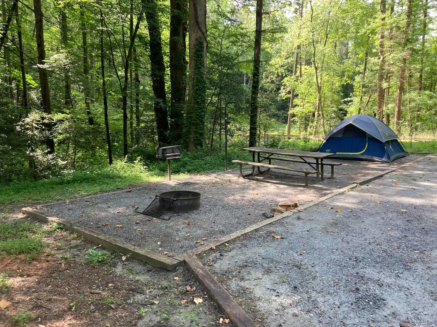 tent pad and picnic table