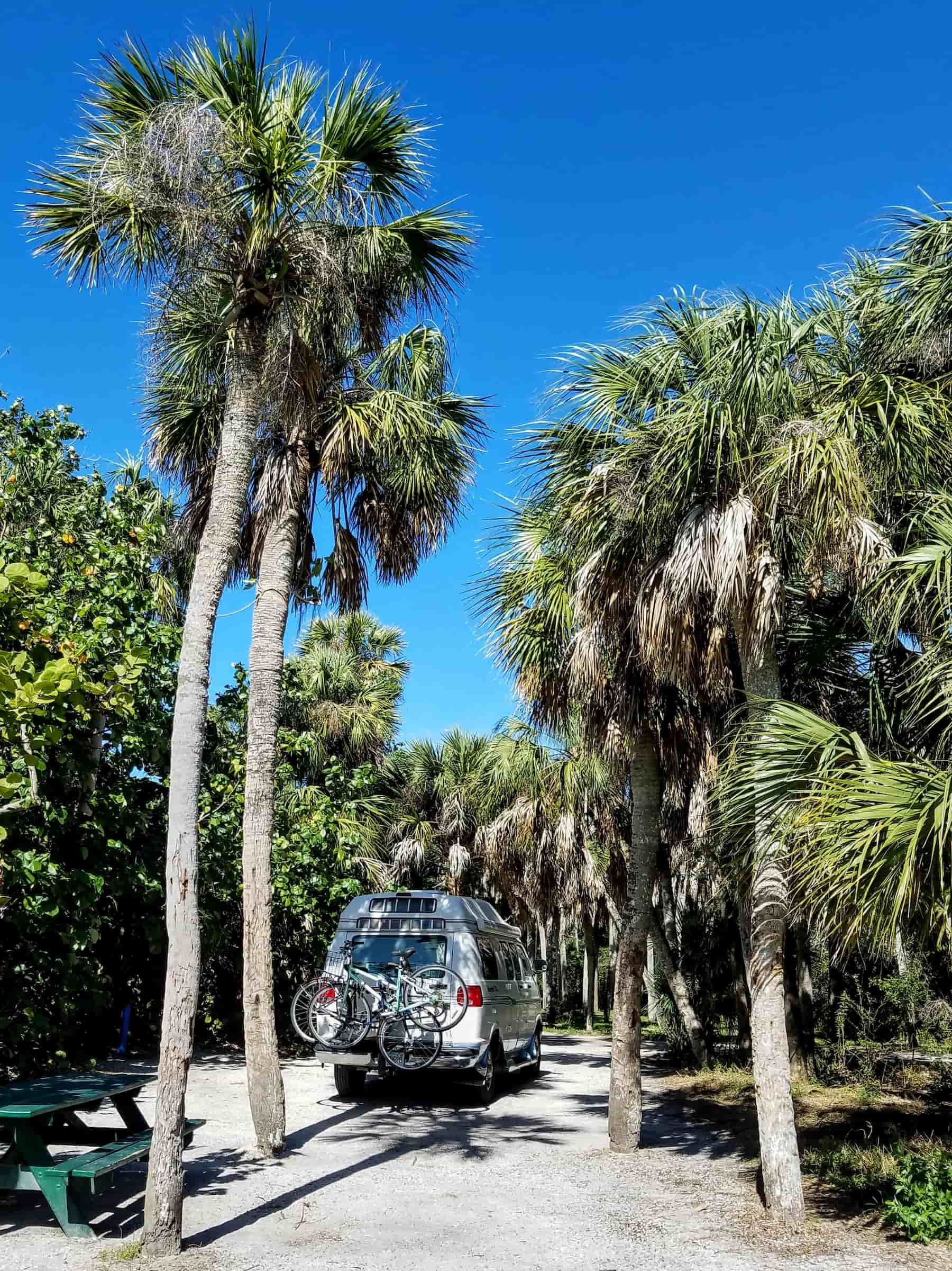Van parked at For De Soto Campground in Florida surrounded by palm trees beside the beach.