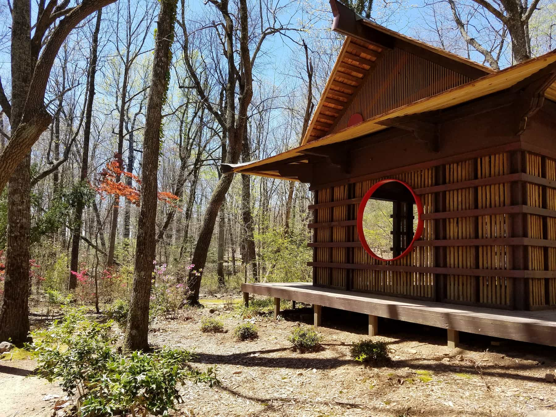 Japanese tea house in the Japanese Garden at Monte Sano State Park Campground.