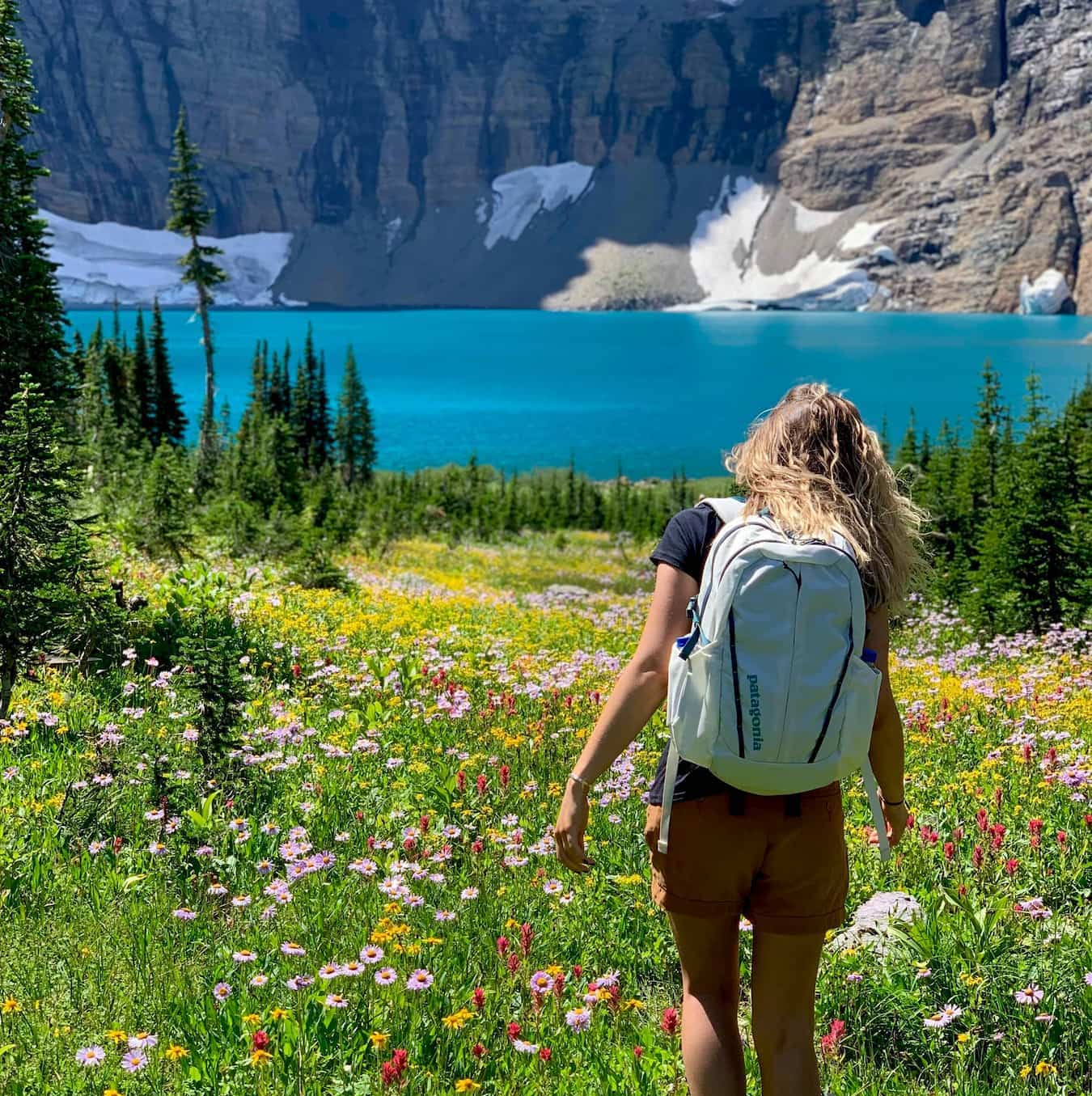 Women hiking in through wildflowers above an alpine lake in the mountains.