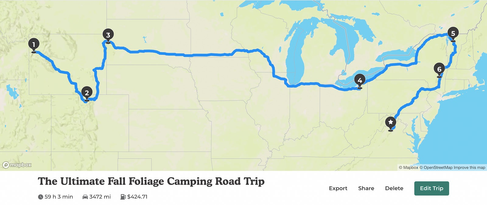 The Dyrt's ultimate fall foliage camping road trip 2021.